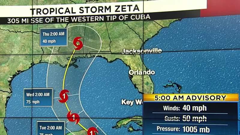 Tropical Storm Zeta to bring rain to parts of Florida