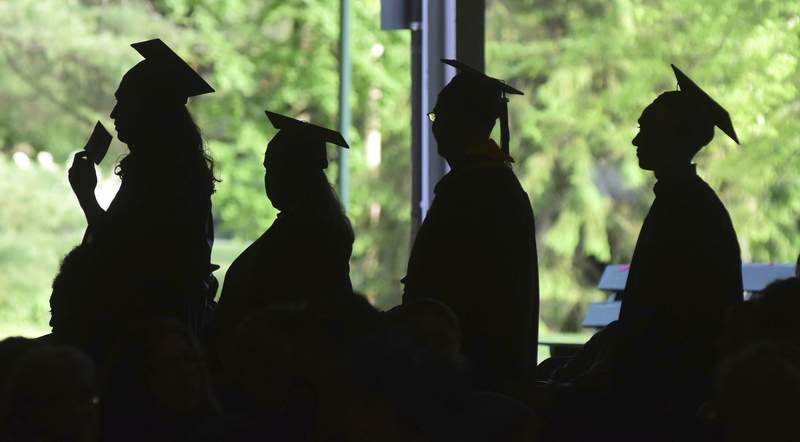 FILE - In this Friday, June 1, 2018, file photo, graduates are silhouetted against the green landscape as they line up to receive their diplomas at Berkshire Community College's commencement exercises at the Shed at Tanglewood in Lenox, Mass. Some lenders advertise their products as a way to pay for college, but these arent technically student loans. For unsuspecting students, that could lead to unnecessarily high costs and a lack of consumer protection. (Gillian Jones/The Berkshire Eagle via AP, File)