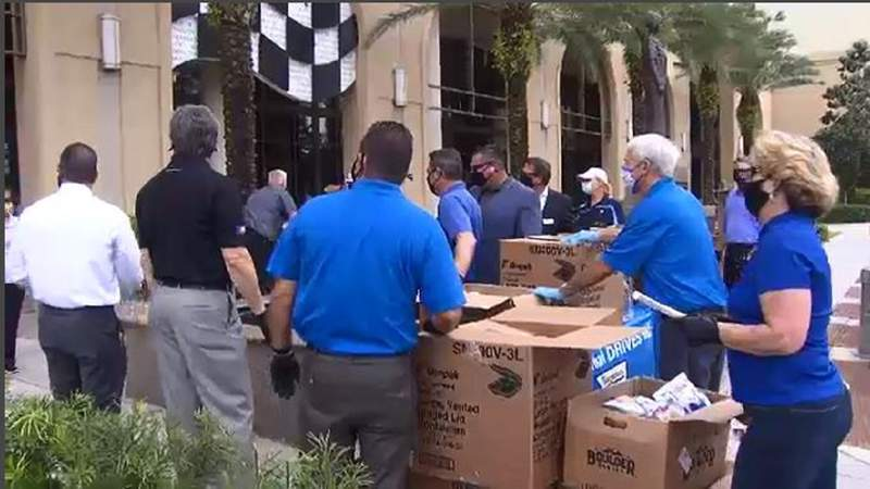 Workers at Halifax Medical Center of Daytona Beach received donated meals Wednesday.