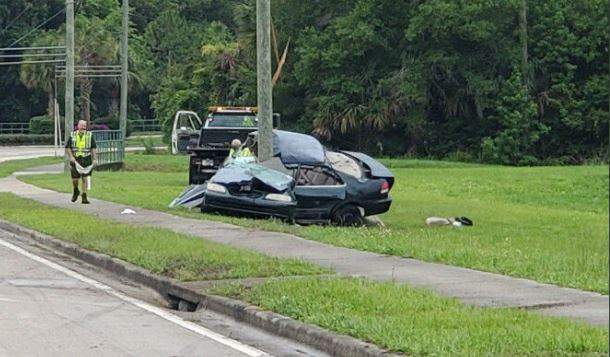 """""""Seat belts save lives! 17 year old teen lost control,  southbound on Ronald Reagan Blvd."""""""