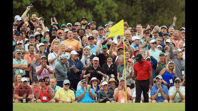AUGUSTA, GEORGIA - APRIL 14: Tiger Woods of the United States reacts to his putt on the ninth green during the final round of the Masters at Augusta National Golf Club on April 14, 2019 in Augusta, Georgia. (Photo by Mike Ehrmann/Getty Images)
