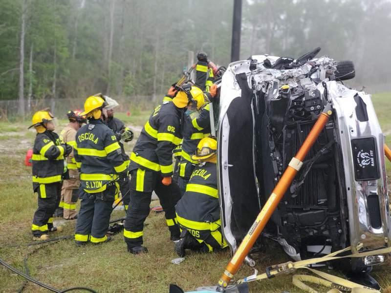 Osceola County Fire Rescue investigate fatal crash along Poinciana Parkway. (OSCFR Twitter)