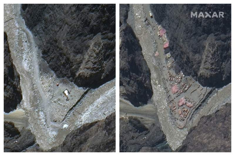This combination of May 22, 2020, left, and June 23 satellite images provided by Maxar Technologies shows construction in the Galwan river valley near the disputed border known as the Line of Actual Control between India and China. On Monday, June 22, military commanders of both nations agreed to disengage their forces in the disputed area of the Himalayas following a June 15 clash that left at least 20 soldiers dead. (Maxar Technologies via AP) Satellite image copyright 2020 Maxar Technologies
