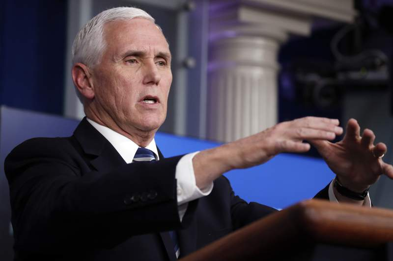 Vice President Mike Pence speaks about the coronavirus in the James Brady Press Briefing Room of the White House, Tuesday, April 7, 2020, in Washington. (AP Photo/Alex Brandon)
