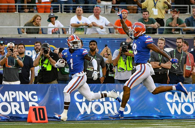 ORLANDO, FL - AUGUST 24: Kadarius Toney #1 of the Florida Gators scores a touchdown in the first half against the Miami Hurricanes in the Camping World Kickoff at Camping World Stadium on August 24, 2019 in Orlando, Florida.(Photo by Mark Brown/Getty Images)