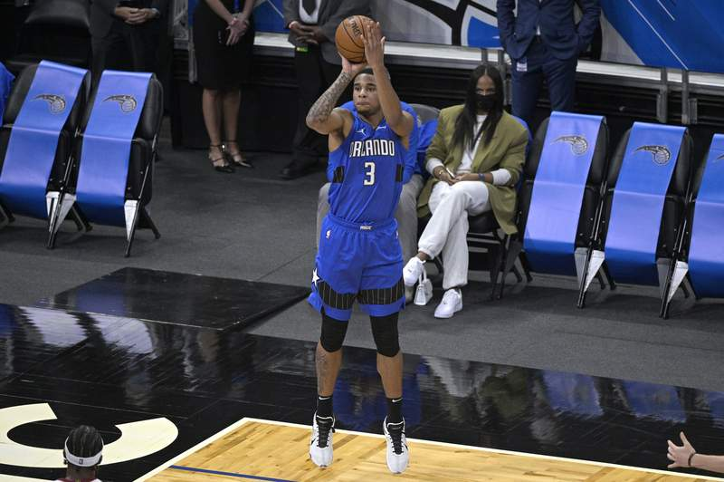 Orlando Magic forward Chuma Okeke (3) goes up for a shot during the first half of an NBA basketball game against the Miami Heat, Wednesday, Dec. 23, 2020, in Orlando, Fla. (AP Photo/Phelan M. Ebenhack)