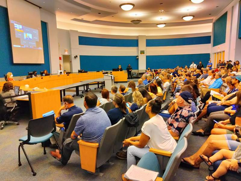 A packed Seminole County School Board meeting on Sept. 2, 2021 to decisions a mask mandate in schools due to rising COVID-19 cases.