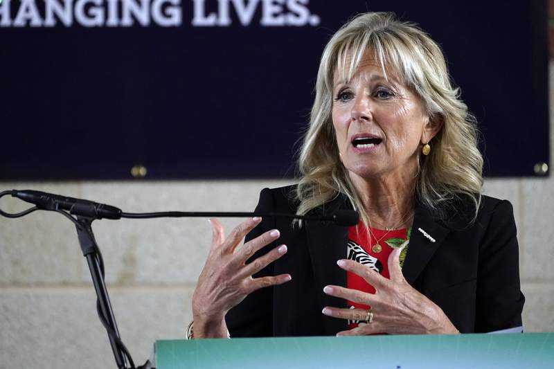 First Lady Jill Biden speaks of the importance of being vaccinated during her visit to a COVID-19 vaccination site at Jackson State University in Jackson, Miss., Tuesday, June 22, 2021, as part of the Biden administration's nationwide tour to reach Americans who haven't been vaccinated and to promote vaccine education. (AP Photo/Rogelio V. Solis)