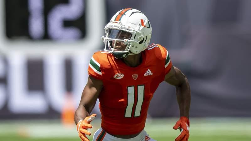 Miami wide receiver Charleston Rambo (11) during an NCAA football game on Saturday, Sept 18, 2021 in Miami Gardens, Fla. (AP Photo/Doug Murray)
