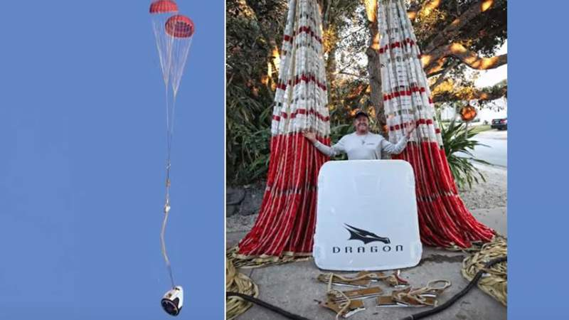 Local fisherman catches SpaceX in-flight abort test parachutes