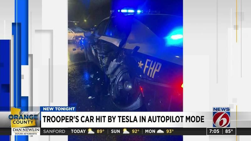 Trooper's car   deed  by Tesla successful  autopilot mode