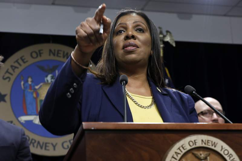 FILE- In this Nov. 19, 2019 file photo, New York State Attorney General Letitia James speaks during a news conference at her office in New York. James asked a court Monday, Aug. 24, 2020 to enforce subpoenas into an investigation into whether President Donald Trump and his businesses inflated assets on financial statements. James filed a petition in state trial court in New York City naming the Trump Organization, an umbrella group for the Republican presidents holdings, as a respondent along with other business entities.  (AP Photo/Richard Drew, File)