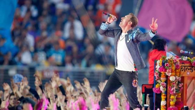 Coldplay performs during the Pepsi Super Bowl 50 Halftime Show at Levi's Stadium.