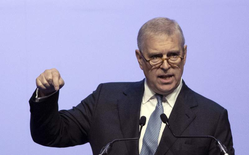FILE - In this file photo dated Sunday, Nov. 3, 2019, Britain's Prince Andrew delivers a speech during the ASEAN Business and Investment Summit (ABIS) in Nonthaburi, Thailand.  Attorneys representing Britains Prince Andrew have lambasted U.S. justice authorities, Monday June 8, 2020, for what they described as a violation of commitments to confidentiality in their discussions with him about the late sex offender Jeffrey Epstein.(AP Photo/Sakchai Lalit, FILE)