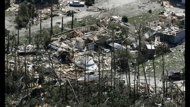 MEXICO BEACH, FL - OCTOBER 11: Boats lay among the debris from homes destroyed by Hurricane Michael on October 11, 2018, in Mexico Beach, Florida. The hurricane hit the panhandle area with category 5 winds causing major damage. (Photo by Chris O'Meara-Pool/Getty Images)