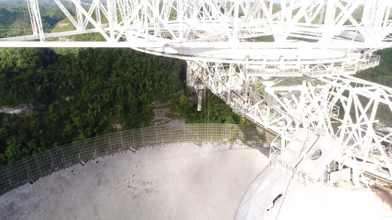 Aerial views of Arecibo Observatory damages after cable snaps