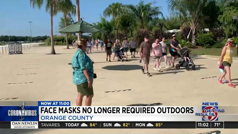 Face masks no longer required outdoors