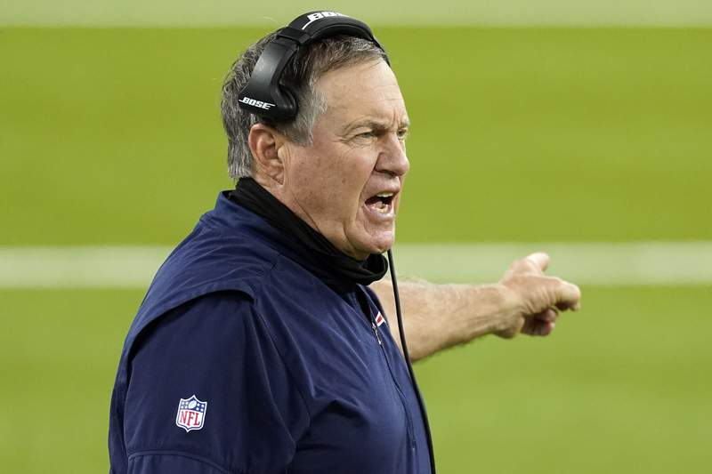 FILE - In this Thursday, Dec. 10, 2020, file photo, New England Patriots head coach Bill Belichick yells from the sideline during the second half of an NFL football game against the Los Angeles Rams in Inglewood, Calif. President Donald Trump will present one of the nations highest civilian honors to Bill Belichick, the football coach of the New England Patriots and the only coach to win six Super Bowl titles. The presentation of the Presidential Medal of Freedom is expected Thursday, Jan. 14, 2021. (AP Photo/Ashley Landis, File)