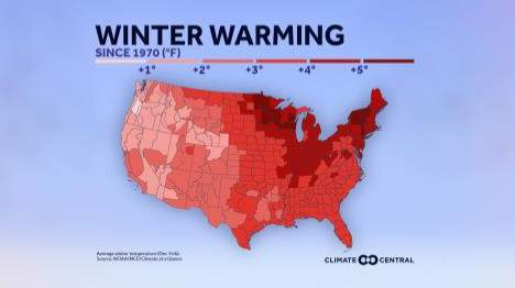 The biggest warming is occurring in the Upper Midwest and Northeast