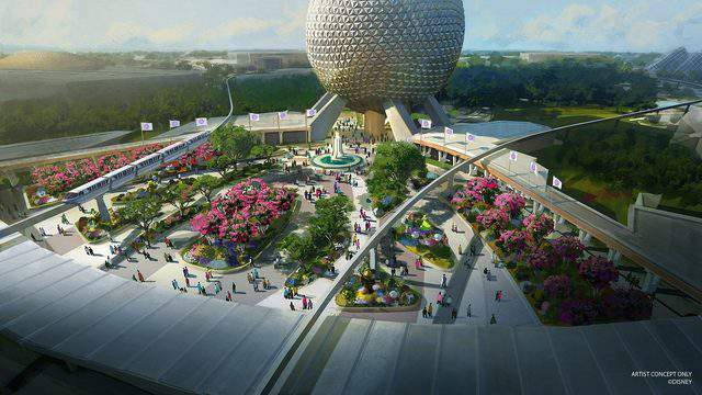 In this artist rendering, a new entrance plaza in development at Epcot will greet guests with new pathways, sweeping green spaces and a reimagined fountain. This design will pay homage to the original park entrance with fresh takes on classic elements. (Disney)