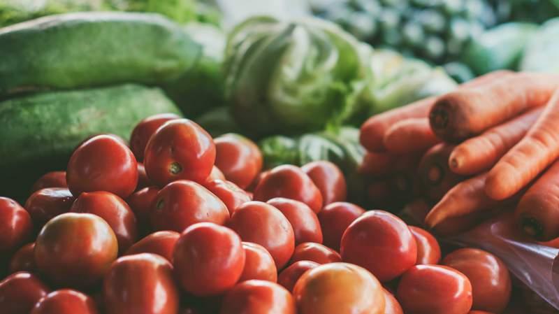 Fresh produce stacked