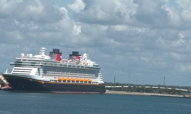 The Disney Dream cruise ship at Port Canaveral on July 19, 2021 after a two-day test sailing.