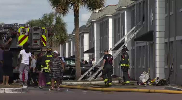 Fire crews say 2 dogs died Monday afternoon and 11 people were displaced.