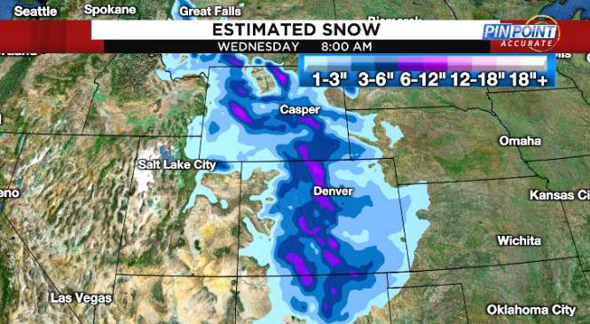 Snow is possible in the Rockies and foothills as unseasonably cold air plunges into the region early next week.