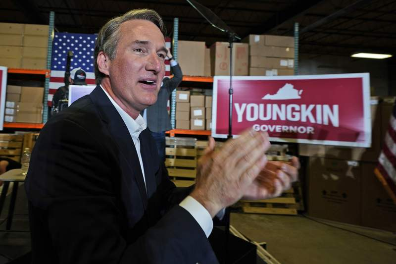 Republican gubernatorial candidate, Glen Youngkin arrives for an event in Richmond, Va., Tuesday, May 11, 2021. (AP Photo/Steve Helber)