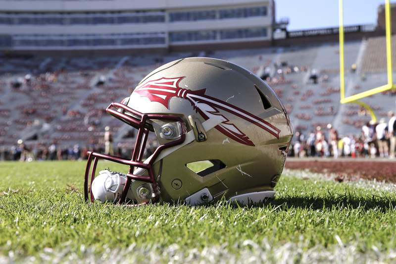 TALLAHASSEE, FL - DECEMBER 2: A general view of a Florida State Seminoles Helmet on the field before the game against the Louisiana Monroe Warhawks at Doak Campbell Stadium on Bobby Bowden Field on December 2, 2017 in Tallahassee, Florida. Florida State defeated Louisiana Monroe 42 to 10. (Photo by Don Juan Moore/Getty Images)