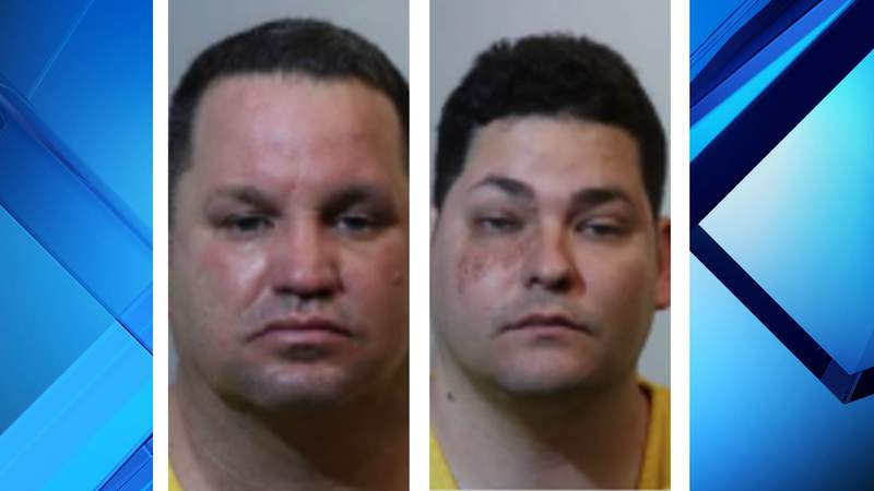 Two men accused of using a skimmer device were spotted at a closed gas station in Longwood, according to the police department.