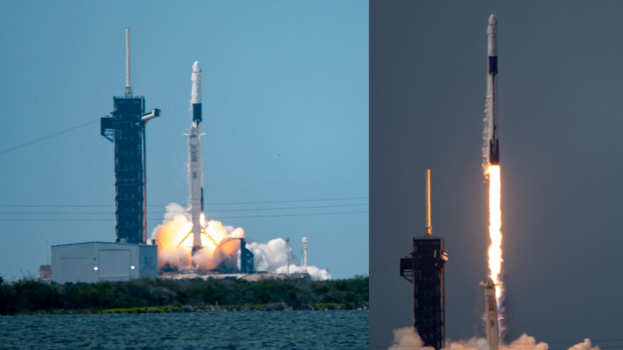 NASA astronauts blast off into space on a SpaceX rocket, heralding a new era in human spaceflight.