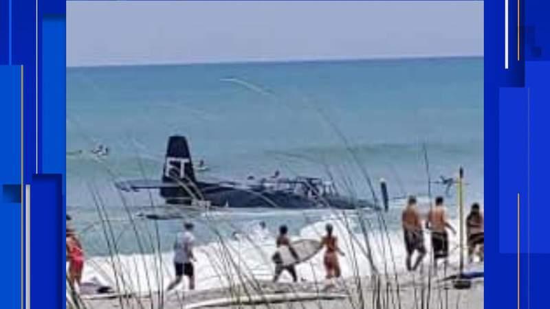 Pilot lands plane close to shore at Cocoa Beach Air Show Saturday, April 17.