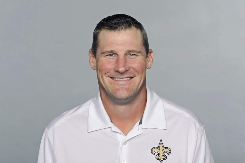 FILE - This is a 2016 file photo showing Dan Campbell of the New Orleans Saints NFL football team. The Detroit Lions have agreed to terms with Dan Campbell to be their coach. The Lions announced the agreement with the New Orleans Saints tight ends coach on Wednesday, Jan. 20, 2021, one day after formally introducing Brad Holmes as their general manager.  (AP Photo/File)