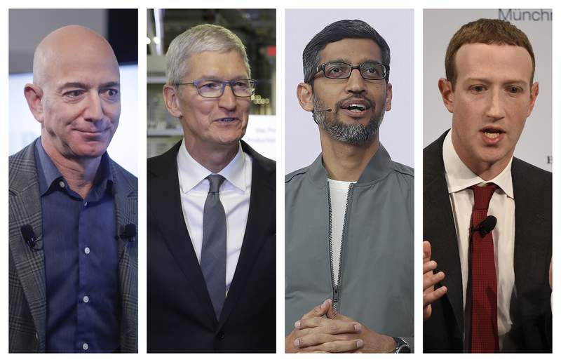 This combination of 2019-2020 photos shows Amazon CEO Jeff Bezos, Apple CEO Tim Cook, Google CEO Sundar Pichai and Facebook CEO Mark Zuckerberg. On Wednesday, July 29, 2020, the four Big Tech leaders will answer for their companies practices before Congress at a hearing by the House Judiciary subcommittee on antitrust. (AP Photo/Pablo Martinez Monsivais, Evan Vucci, Jeff Chiu, Jens Meyer)