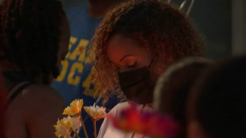 Family and friends gathered at Arden Villas Apartments to mourn the loss of Miya Marcano.