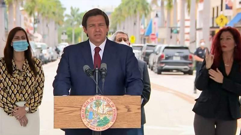 Gov. Ron DeSantis announces South Florida counties can begin reopening.