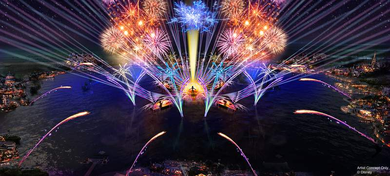 """In 2020, the new """"HarmonioUS"""" will debut at Epcot as the largest nighttime spectacular ever created for a Disney park. It will celebrate how the music of Disney inspires people the world over, carrying them away harmoniously on a stream of familiar Disney tunes reinterpreted by a diverse group of artists from around the globe. """"HarmonioUS"""" will feature massive floating set pieces, custom-built LED panels, choreographed moving fountains, lights, pyrotechnics, lasers and more."""