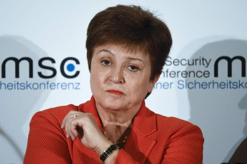 FILE - In this Feb. 14, 2020 file photo, Kristalina Georgieva, Managing Director of the International Monetary Fund, attends a session on the first day of the Munich Security Conference in Munich, Germany.   Georgieva said Friday, March 27,  it is clear that the global economy has now entered a recession that could be as bad or worse than the 2009 downturn.  She said the 189-nation lending agency was forecasting a recovery in 2021, saying it could be a sizable rebound. But she said this would only occur if nations succeed in containing the coronavirus and limiting the economic damage(AP Photo/Jens Meyer, File)