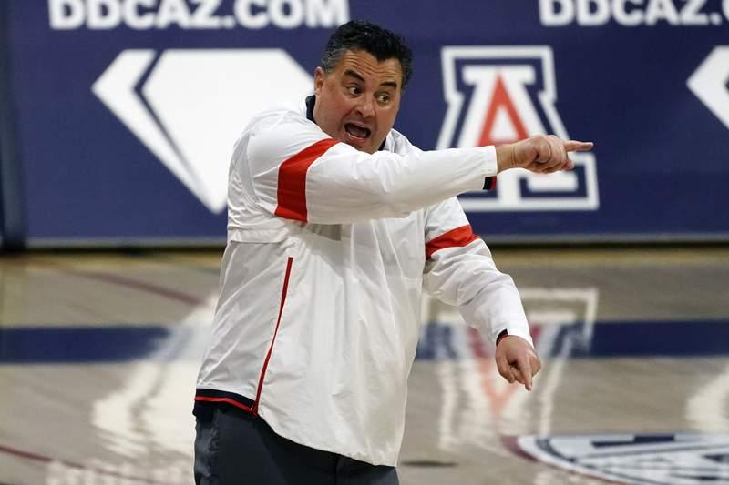 Arizona coach Sean Miller reacts to a play during the second half of the team's NCAA college basketball game against Colorado, Monday, Dec. 28, 2020, in Tucson, Ariz. Arizona won 88-74. (AP Photo/Rick Scuteri)