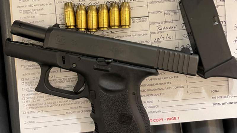 This handgun was found on Oct. 2, 2021, at the TSA checkpoint in Roanoke's airport in a traveler's carry-on bag, according to the TSA.