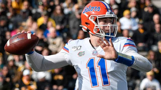 Florida Gators quarterback Kyle Trask passes against the Missouri Tigers, Nov. 16, 2019, in Columbia, Missouri.