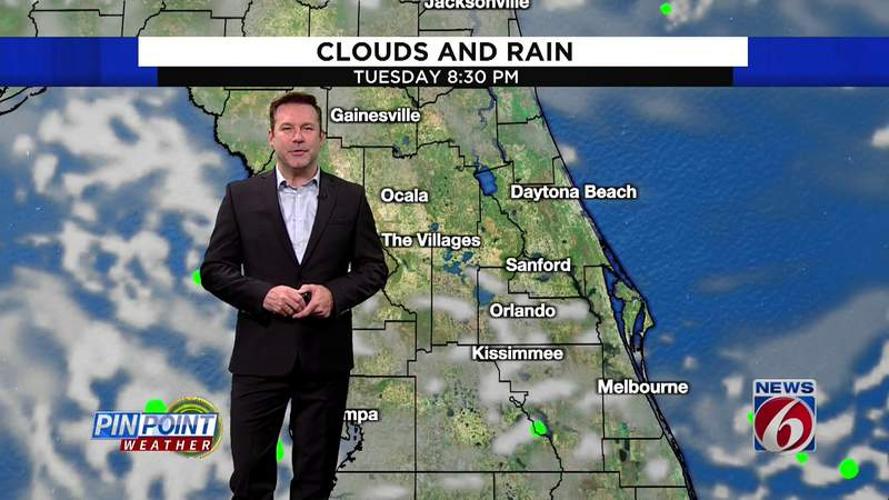 Onshore flow will bring a few showers to Central Florida