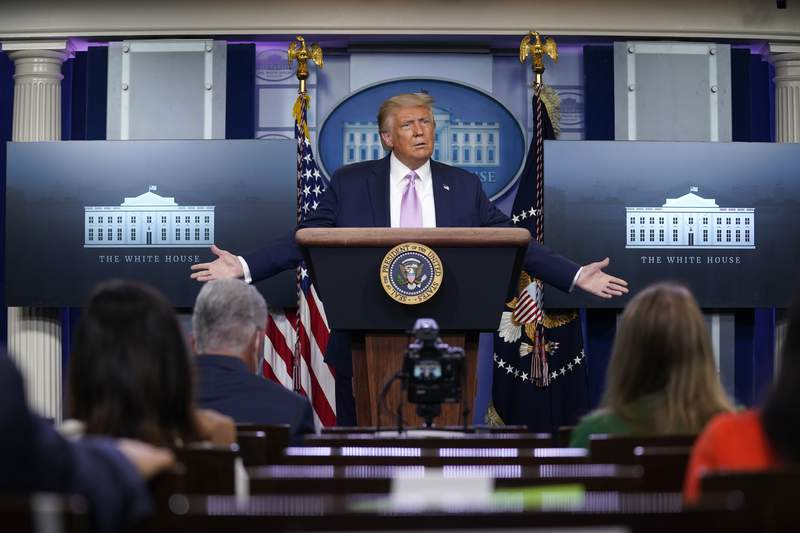 President Donald Trump speaks during a news conference at the White House, Wednesday, Aug. 19, 2020, in Washington. (AP Photo/Evan Vucci)