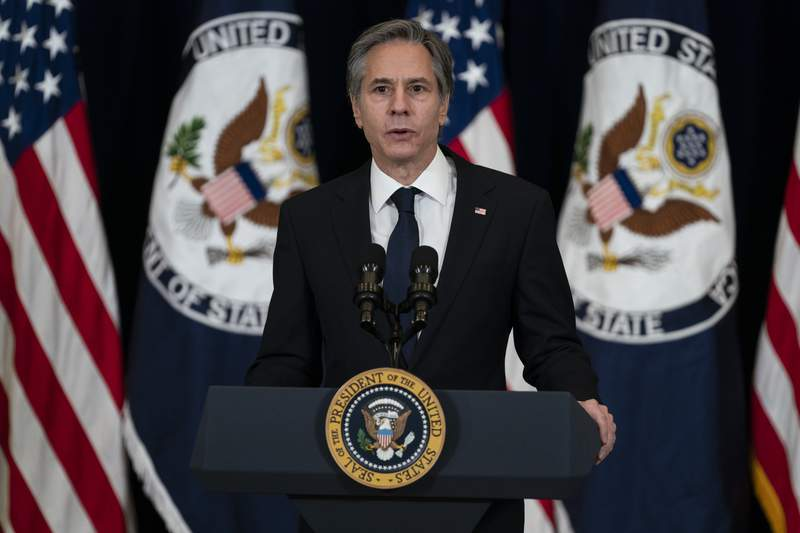 In this Feb. 4, 2021, photo, Secretary of State Antony Blinken speaks at the State Department in Washington. The Biden administration on Feb. 18 rescinded former president Donald Trumps restoration of U.N. sanctions on Iran, an announcement that could help Washington move toward rejoining the 2015 nuclear agreement aimed at reining in the Islamic Republics nuclear program. (AP Photo/Evan Vucci)