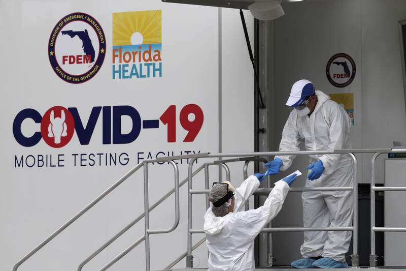 Health care workers work at a walk-up COVID-19 testing site during the coronavirus pandemic, Friday, July 17, 2020, in Miami Beach, Fla. The mobile testing truck is operated by Aardvark Mobile Health, which has partnered with the Florida Division of Emergency Management. People getting tested are separated from nurses via a glass pane. (AP Photo/Lynne Sladky)