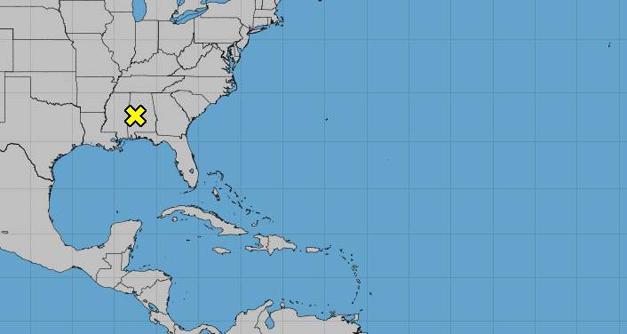 Area of low pressure has a 30 percent chance of developing into a tropical storm.