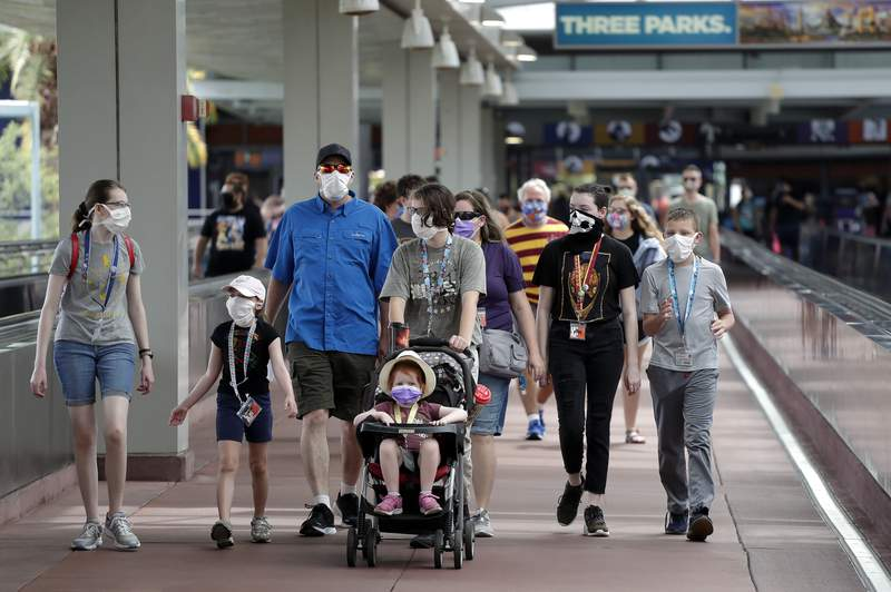 In this Wednesday, June 3, 2020 photo, guests arrive at Universal Orlando Resort Wednesday, June 3, 2020, in Orlando, Fla. The theme park has reopened for season pass holders and will open to the general public on Friday, June 5. (AP Photo/John Raoux)