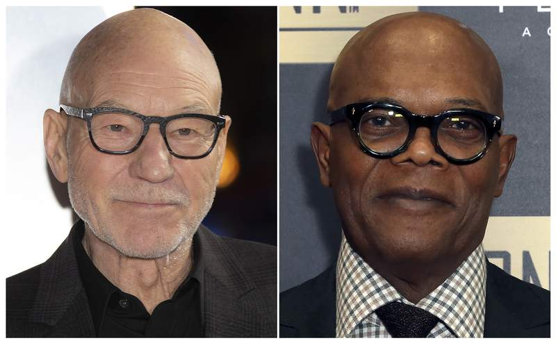 """FILE - This combination of file photos shows actors Patrick Stewart, left, and Samuel L. Jackson.  Stewart and Jackson will be among the readers for a new audiobook about famous American legal cases. """"Fight of the Century is a collaboration between the American Civil Liberties Union and authors Michael Chabon and Ayelet Waldman.  (AP Photo/File)"""