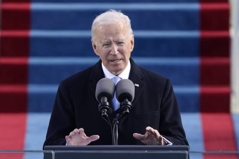 FILE - In this Jan. 20, 2021 file photo, President Joe Biden speaks during the 59th Presidential Inauguration at the U.S. Capitol in Washington. (AP Photo/Patrick Semansky, Pool, File)
